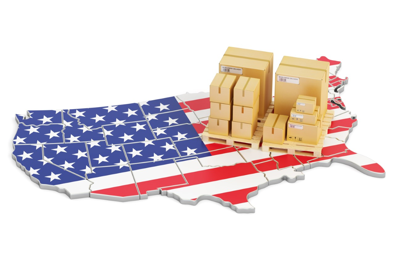 Made in Usa map and boxes
